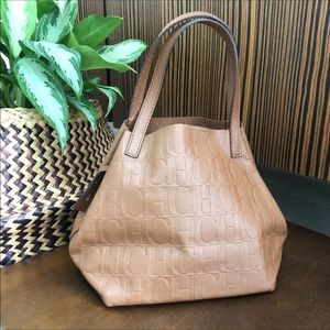 Carolina Herrera Matryoshka tan handbag like new